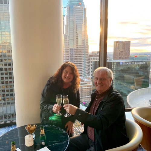 Our anniversary picture in a revolving bar overlooking LA