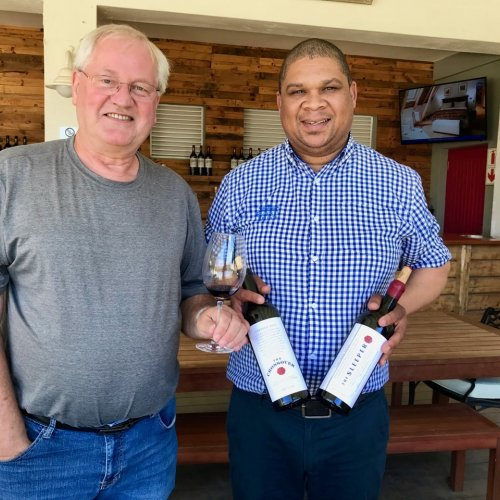 Bert and Fennel with two great wines