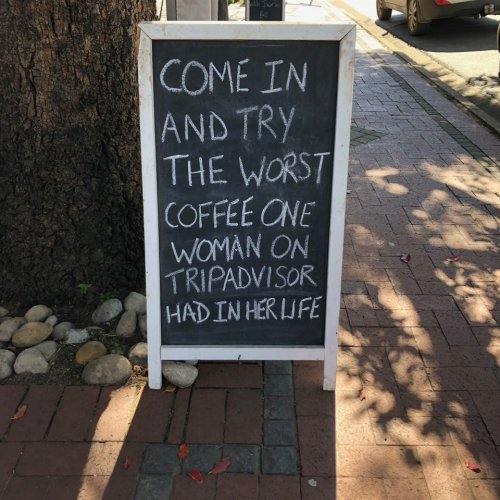 A sign we saw at a cafe in Franschhoek