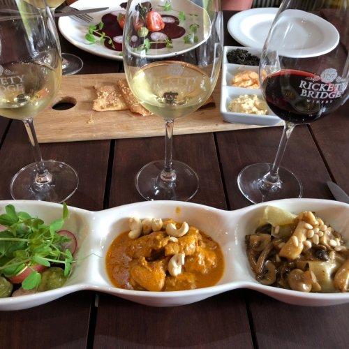 Chef sampling of food and wine